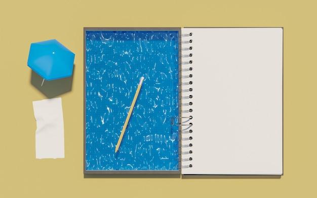 Bloc de notas con piscina en pasta para planificar las vacaciones de verano. bosquejo. ilustración 3d