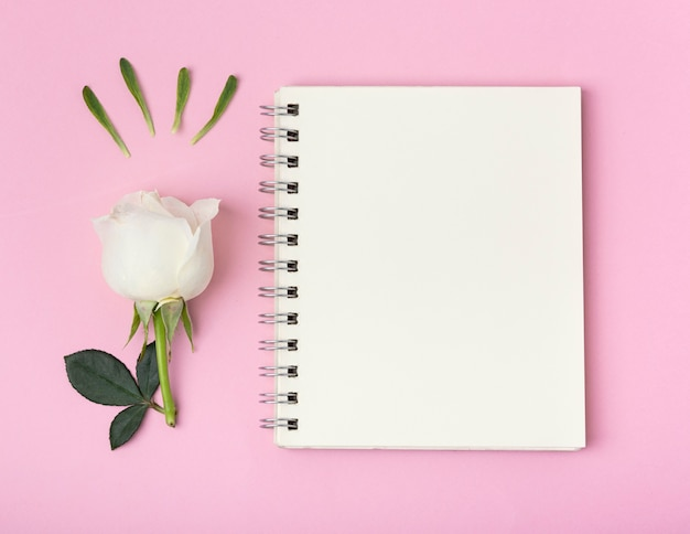 Bloc de notas vacío copia espacio con hermosa rosa