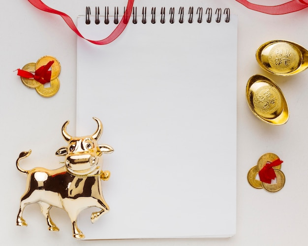 Bloc de notas vacío tradicional año nuevo chino buey