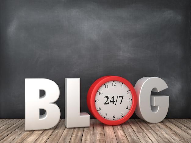 Blog 3d word con reloj en pizarra