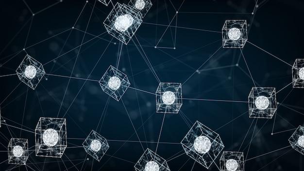 Bloque digital isométrico código cuadrado conexión de datos grandes