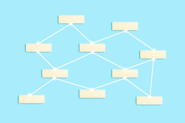Bloques en blanco de fondo de concepto de comunicación y red global para etiquetas de objetos en red