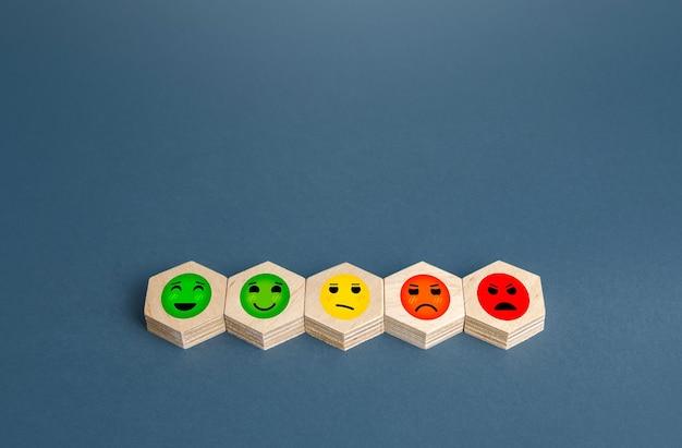 Bloques con gradaciones de caras de humor del concepto feliz al enojado de revisión de calificación