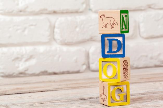 Bloques de juguete de superficie de madera con el perro de texto