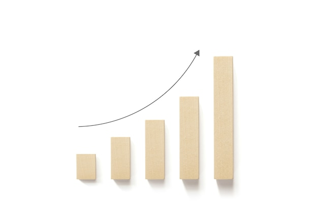 Los bloques de madera aumentan con una flecha hacia arriba y fondo blanco.