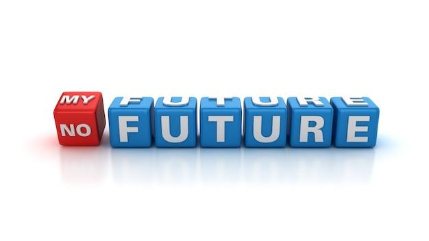 Los bloques de mosaico de palabras de moda cambian de no future a my future
