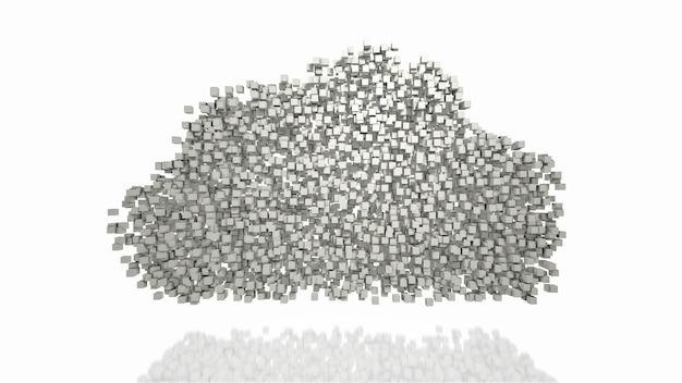Bloques de recopilación de datos y formación de símbolo de forma de nube sobre fondo blanco representación 3d abstracta computación en la nube digital y concepto de tecnología de red descentralizada nodos de internet de blockchain