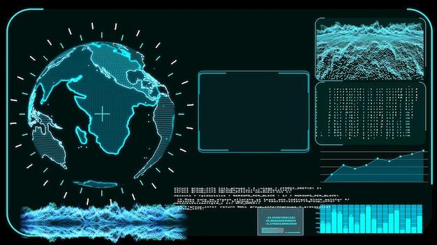Blue monitor digital global mapa mundial y software de análisis de desarrollo de investigación tecnológica