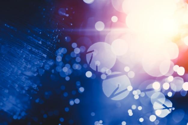 Blur light bokeh de fibra óptica innovación tecnología de transferencia de datos tono de color azul