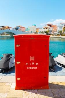 Boca de incendio. protección contra incendios en el puerto.