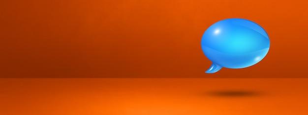 Bocadillo de diálogo azul 3d aislado sobre fondo de banner naranja