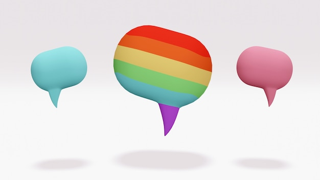 Bocadillo de diálogo en color arco iris como color lgbt con burbujas azules y rosas en el fondo