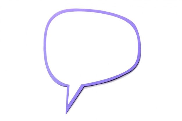 Bocadillo de diálogo como una nube con borde violeta aislado