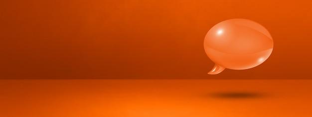 Bocadillo de diálogo naranja 3d aislado sobre fondo de banner de muro de hormigón
