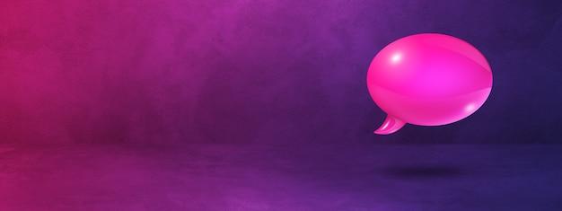 Bocadillo de diálogo rosa 3d aislado sobre fondo de banner púrpura
