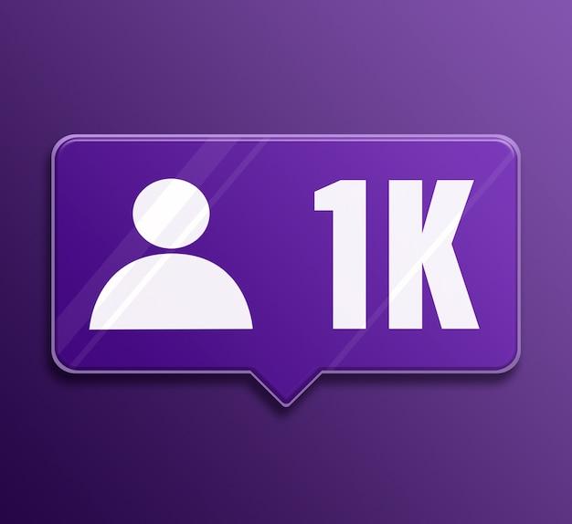 Bocadillo de diálogo de vidrio de 1k de seguidores de notificación de redes sociales 3d