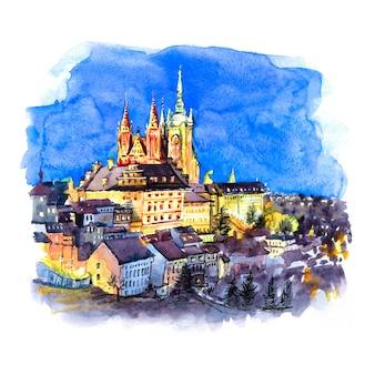 Boceto de acuarela del castillo de praga, hradcany y el barrio pequeño de la ciudad vieja en la noche de praga, república checa