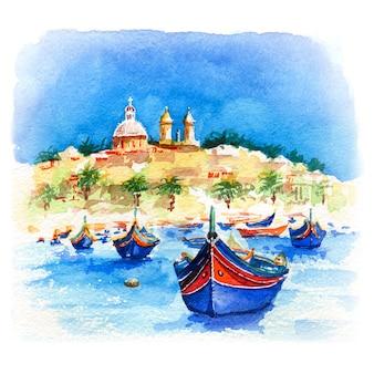 Boceto acuarela de tradicionales barcos coloridos ojos luzzu e iglesia en el puerto del pueblo pesquero mediterráneo marsaxlokk, malta