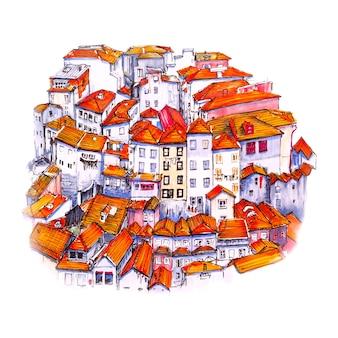 Boceto de marcador del casco antiguo de oporto, portugal
