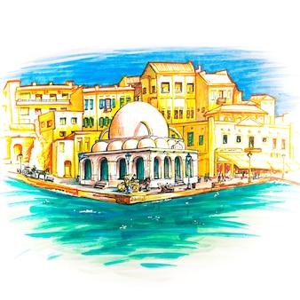 Boceto de marcador de chania, creta, grecia