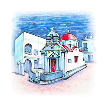 Boceto de marcador de la iglesia griega en la isla de mykonos, grecia