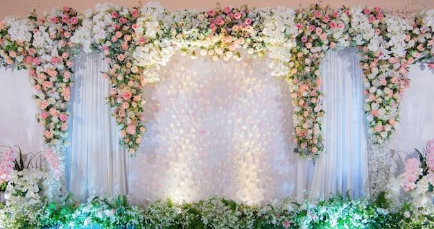 Bodas de telón de fondo evento hay flores color de rosa, fondo de boda