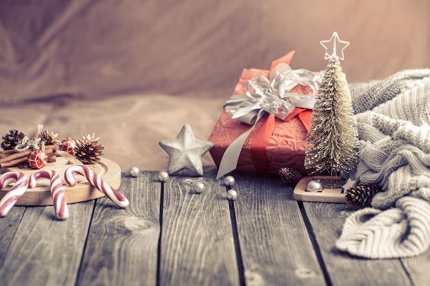 Bodegón fondo festivo de navidad en casa