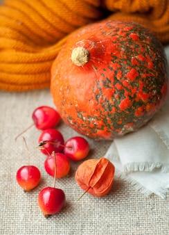 Bodegón otoñal con calabaza, physalis y pequeñas manzanas rojas