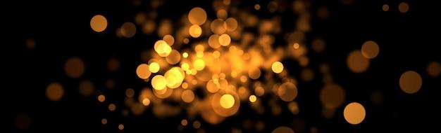 Bokeh dorado resplandor sobre fondo negro.