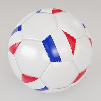 Bola blanca con bandera de francia sobre fondo blanco.