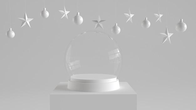 Bola de cristal de nieve vacía con bandeja blanca y podio.