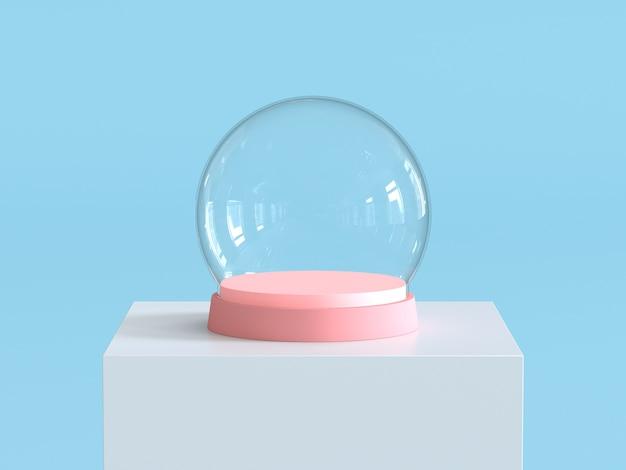 Bola de cristal de nieve vacía con bandeja de color rosa pastel en el podio blanco.