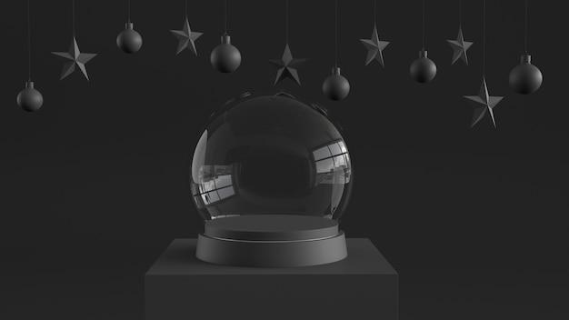 Bola de cristal de nieve vacía con bandeja negra y podio.