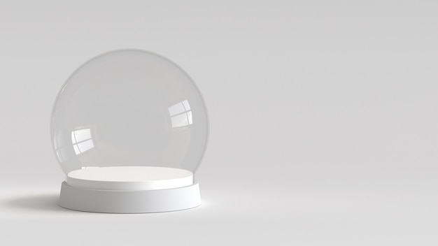 Bola de cristal vacía de la nieve con la bandeja blanca en el fondo blanco. representación 3d