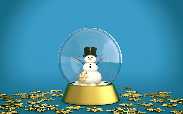 Bola de nieve de navidad con muñeco de nieve y copos de nieve dorados con fondo azul.