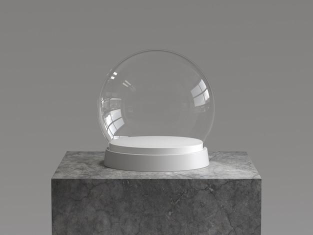 Bola vacía de la nieve con la bandeja blanca en el podio concreto. representación 3d