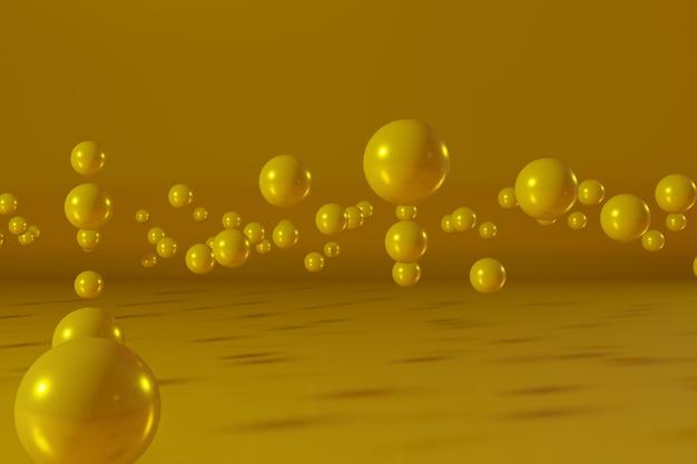 Bolas amarillas flotando sobre un fondo amarillo escena de representación 3d abstracta