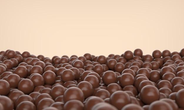 Bolas de chocolate en el suelo, ilustración 3d.