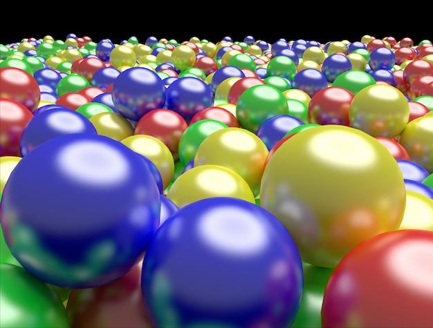 Bolas de colores. fondo de colores brillantes, representación 3d