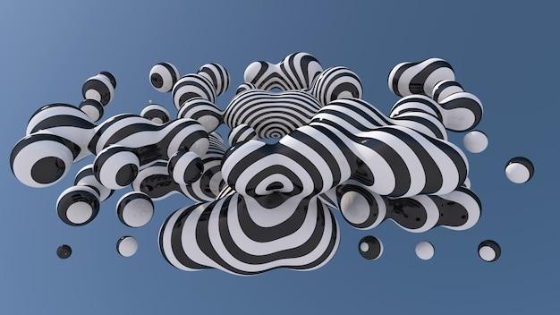 Bolas líquidas a rayas en el cielo. ilustración abstracta, render 3d.