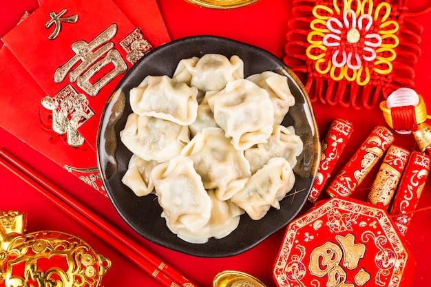 Bolas de masa hervida para el festival de primavera chino gran bendición china