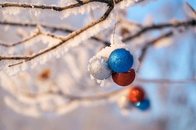 Bolas de navidad en un árbol de navidad congelado.