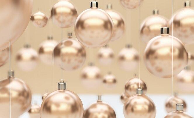 Bolas de navidad doradas colgando