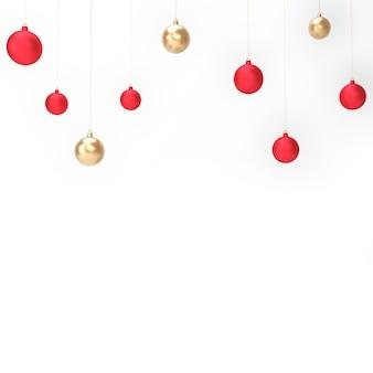Bolas de navidad con fondo blanco objeto aislado representación 3d