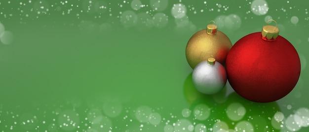 Bolas de navidad en tarjeta de felicitación verde con espacio de copia de marco bokeh