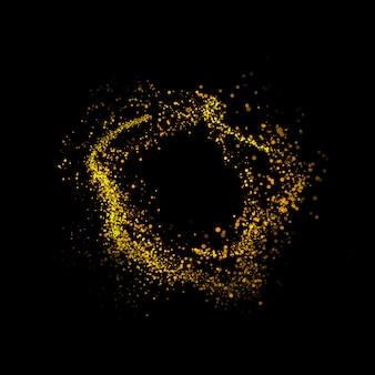 Bolas de polvo dorado brillante con estrellas de bokeh