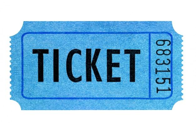 Boleto de cine azul aislado en blanco