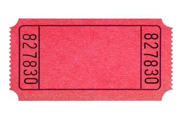 Boleto rojo en blanco aislado