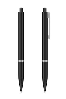 Bolígrafo de maqueta negra con espacio en blanco para el suyo, logotipo o diseño sobre un fondo blanco. representación 3d