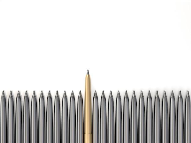Bolígrafo de oro que sobresale de los bolígrafos cromados, que sobresale de la multitud. representación 3d